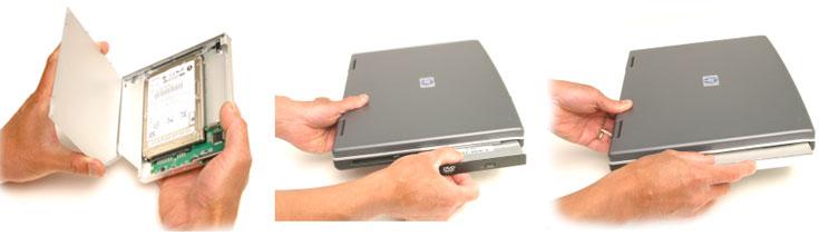 Installation in 5 Minuten erledigt: Schraube oder Riegel am Boden des Notebooks lösen, optisches Laufwerk heruasziehen, OptiBayHD mit zweiter Festplatte oder SSD einschieben: Fertig!