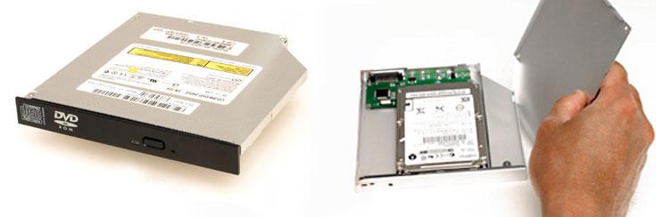CD, DVD oder Blu-ray raus. OptiBayHD Kit mit optionaler Festplatte oder SSD rein. - So einfach geht das!